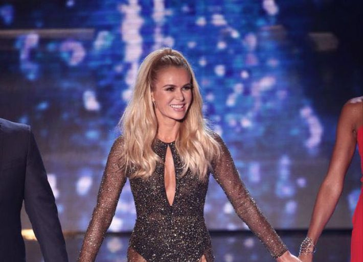 Amanda wears a sparkly dress for BGT
