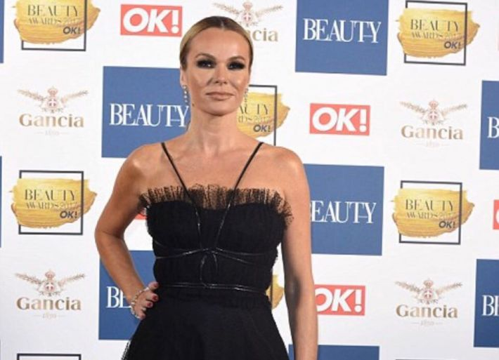 Amanda hosts the 2017 OK! Beauty Awards and wears black strappy ballgown!